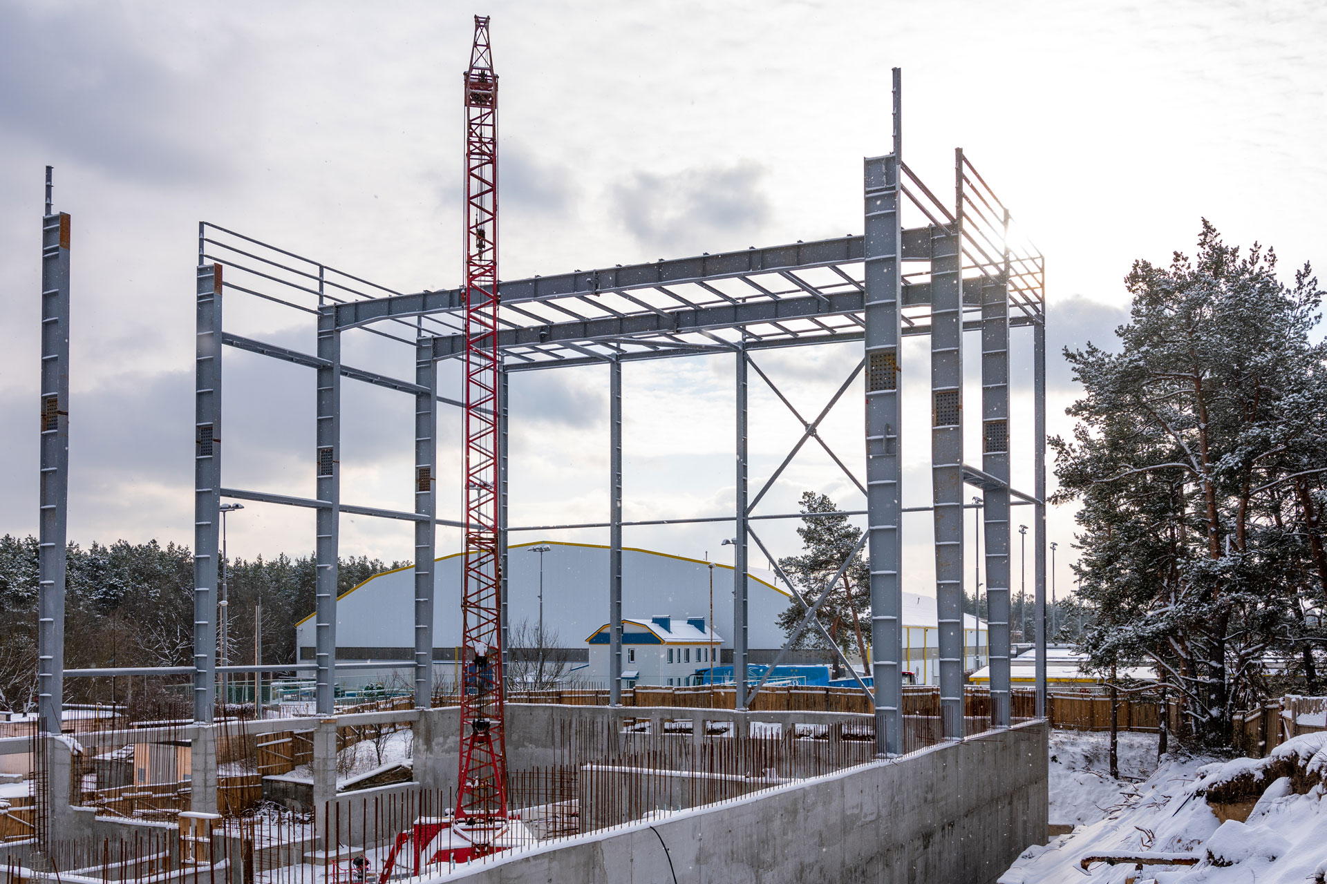 Metal structures for the Olympic training and sports center.